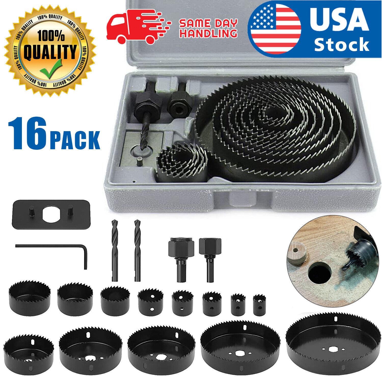 US 16pcs Hole Saw Drill Bit Kit Wood Plastic Sheet Metal 3/4″-5″ Cutting Set Kit Drill Bits