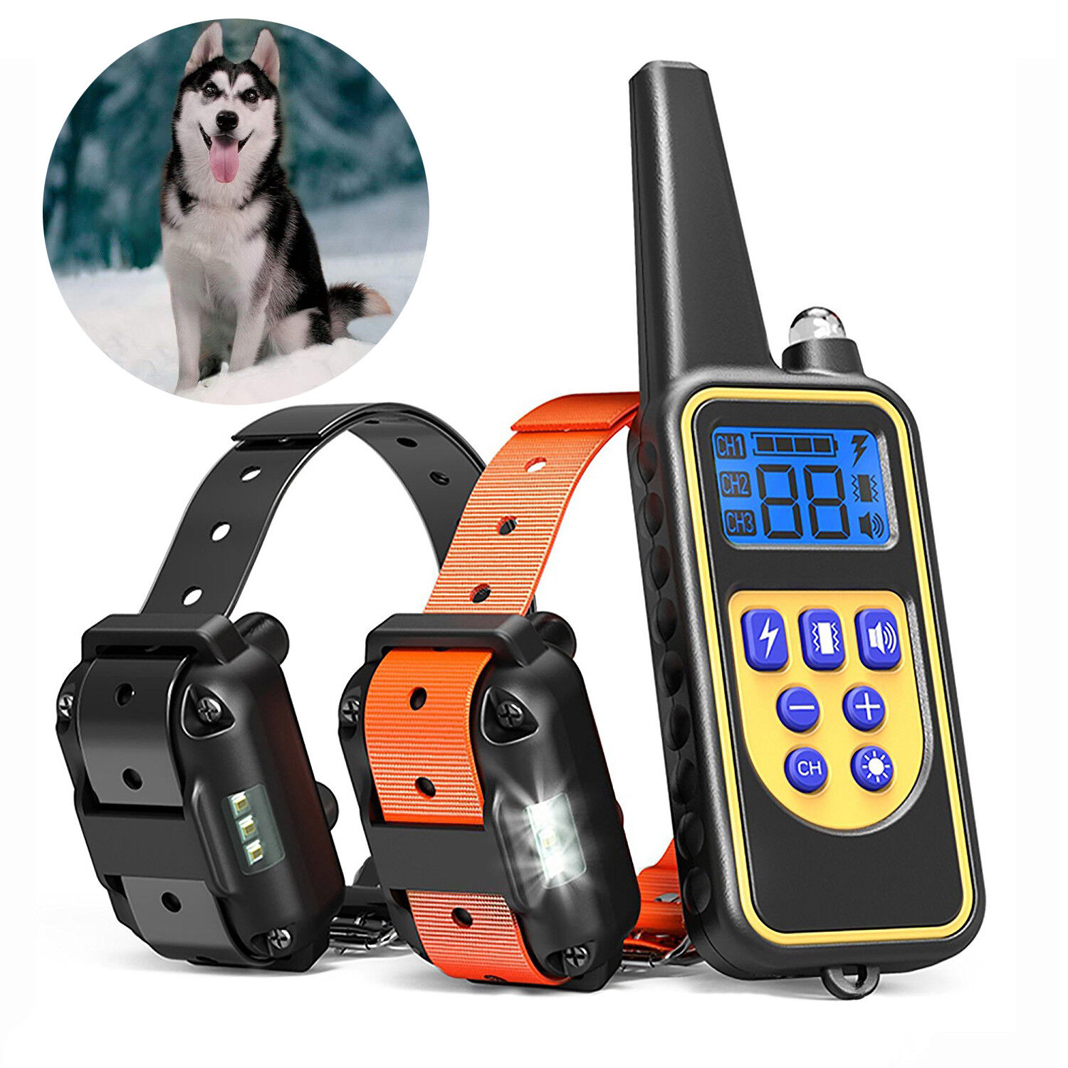 Waterproof Dog Training Electric Collar Rechargeable Remote Control 875 Yards