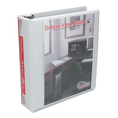 Universal 3 Ring Binder 2 Inch Round Ring Deluxe View Binders White - 6 Pack