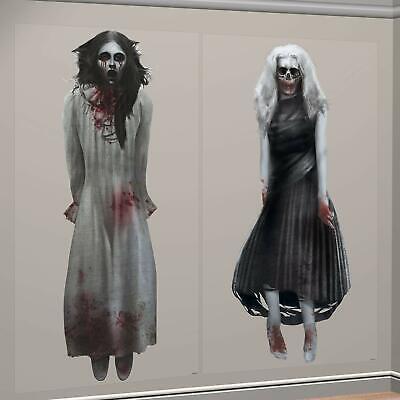 Halloween Decorations Wall Scenes (GHOST GIRLS SCENE SETTERS Halloween Wall Decorations Cemetery Dead Backdrop)