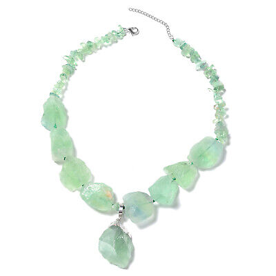 """Stainless Steel Green Fluorite Pendant Necklace Jewelry Gift Size 18"""" Ct 1347"""