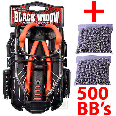 "RED Barnett BLACK WIDOW Powerful Hunting Slingshot Catapult + 500 x 1/4"" BB Ammo"