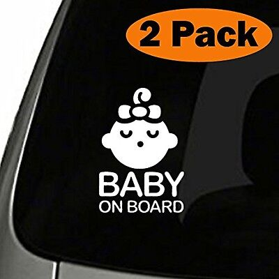 (Set of 2) Girl Baby on Board Sticker Decal Safety Caution Sign for Car Window