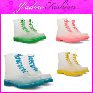 NEW-LADIES-RUBBER-LACE-UP-WITH-GGORANGNAE-SOCK-CLEAR-MID-CALF-BOOTS-SIZES-UK-3-8