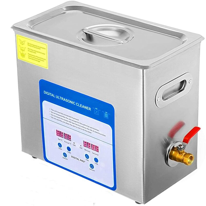 6L Ultrasonic Cleaner Industry Stainless Steel Lab Cleaner w/Timer Heater