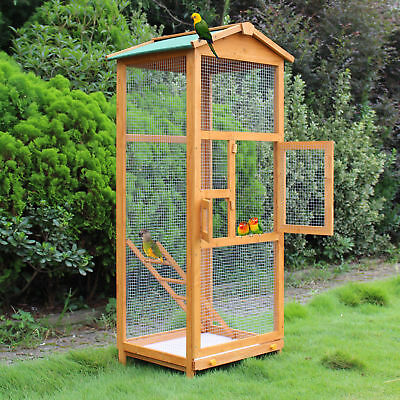 "Wooden Large Bird Cage 65"" Pet Play Covered House Ladder Feeder Stand Outdoor"