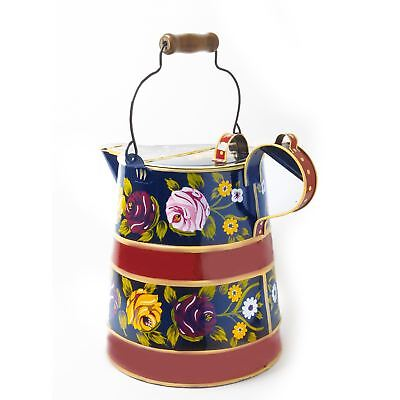 2 Gallon Blue and Red Hand Painted Buckby Style Narrowboat Watering Can