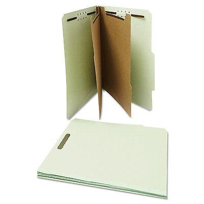 UNIVERSAL Pressboard Classification Folder Letter Six-Section Gray-Green 10/Box