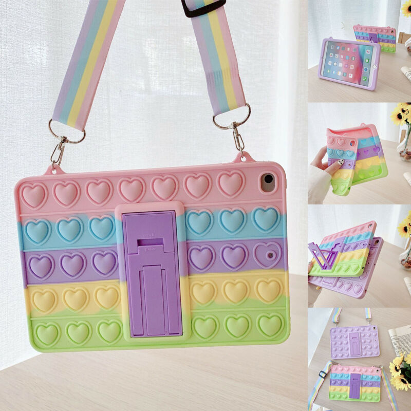 For iPad 8th 7th 6th 5th Air 4 Mini 5 Fidget Pop Toys Push It Bubble Case Cover