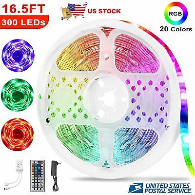 5M RGB 3528 Waterproof LED Strip Light With 44 Key Remote 12V 110V Full Kit
