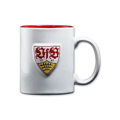 VfB Stuttgart Tasse Relieftasse 1893 16096 weiß mit 3D Wappen und 1893 Schriftzu