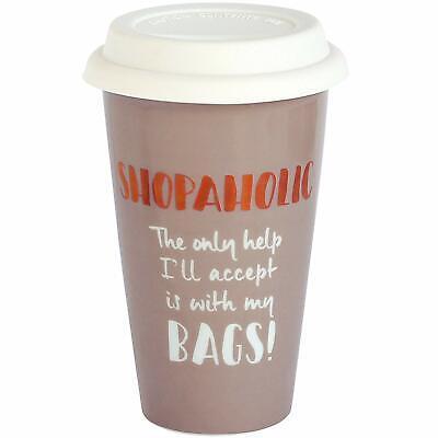 Ultimate Girl Woman Gift Ceramic Travel Mug - Shopaholic Mum Sister Auntie Gift Ultimate Travel Mug