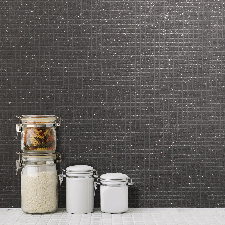NEU Crown - klein Mosaik Fliesen Effekt - schwarz - Glitzer Luxus ...
