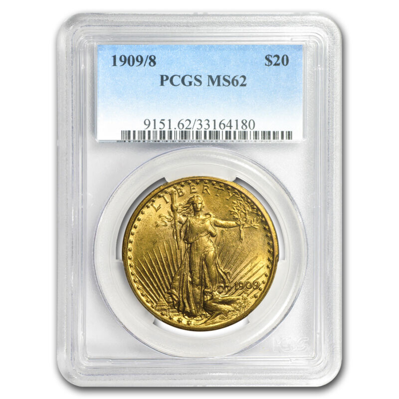 1909/8 $20 Saint-gaudens Gold Double Eagle Overdate Ms-62 Pcgs - Sku#62562