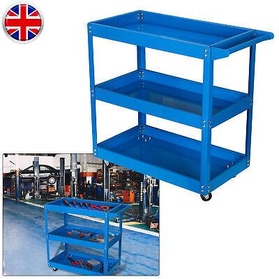 Blue 3 Tier Heavy Duty Workshop Garage Trolley Tool Storage Cart Shelf 4 Wheels