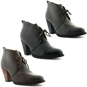 New-Ladies-Causal-High-Cuban-Heel-Lace-Up-Leather-Look-Boots-Shoes-Sizes-UK-3-8
