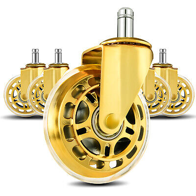 Lphy Office Chair Wheels 3 Rubber Chair Casters Wheel Replacement Gold 5-pack