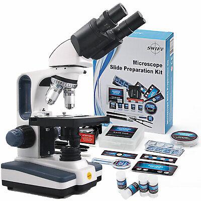 Swift 40x-2500x Microscope Lab 66pcs Science Set Kit Brinocular Compound Biology