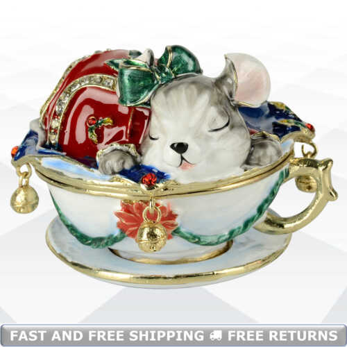 Mouse Vintage Jewelry Trinket Box With Hinged Lid Enamel Bejeweled Crystal Decor