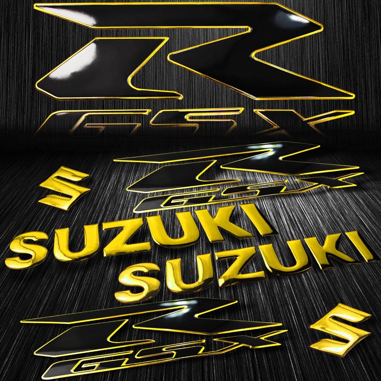 """2-Tone 6.25/""""ABS GSXR Logo Emblem+Suzuki Fairing//Fender Badge Sticker Chrome Gold"""