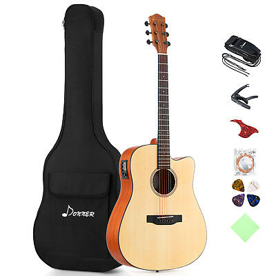 "Best Quality Donner 41"" Full-size Cutaway Electric Acoustic Guitar & Case"