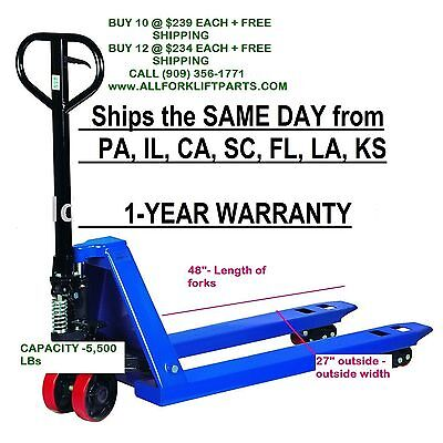 Pallet Jack Hand Truck 5500 Lbs 27 X 48 New 1-year Warranty Free Shipping