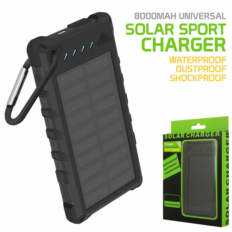 Solar Powered 8000mAh Outdoor Portable Powerbank + Dual USB