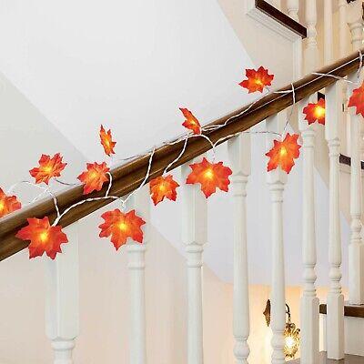 Autumn Garland Maple Leaves Fall Lights Battery LED 10 Feet