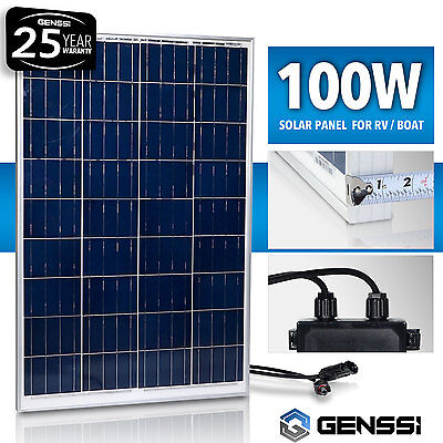 GENSSI® 100W Solar Panel 12V 12 Volt Poly Off Grid Battery Charger RV Rowing-boat