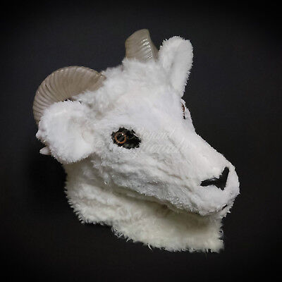 Over the Head Horned White Ram Sheep Goat Costume Moving Mouth Masquerade Mask](Goat Head Mask)