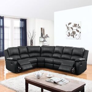 Large Traditional Bonded Leather Reclining Corner Sectional Sofa Black