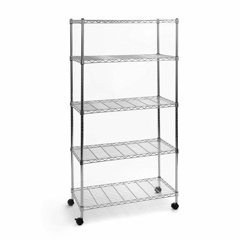 "65x36x14"" Commercial 5 Tier Shelf Adjustable Wire Metal Shelving Rack w/ Rolling"