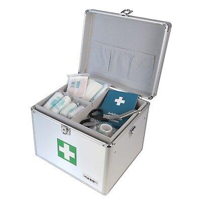HMF Medizinkoffer Erste-Hilfe-Koffer leer, Arzneikoffer Aluminium, 30 cm, silber