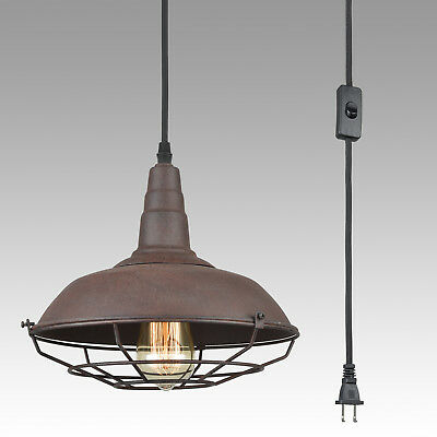 Nautical Metal Cage Hanging Plug-In Pendant Light Swag Ceiling Light Rust Finish