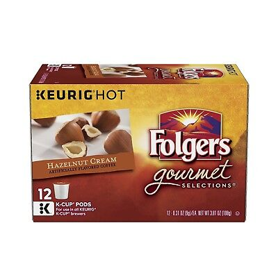 Folgers Hazelnut Cream Flavored Ground Coffee K-Cup Pods for Keurig Brewers, ...