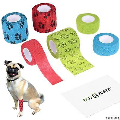Eco-Fused Self Adhering Bandage - Injury Wrap Tape for Dogs - Pack of 6 -