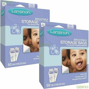 100 Lansinoh Pre-Sterilised Breastmilk Baby Breast Milk Storage Bags Pouche Pack