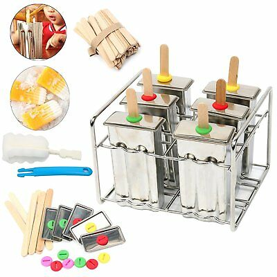 Commercial Grade Stainless Steel Popsicle Mold, Freezer Ice Pop Maker Set