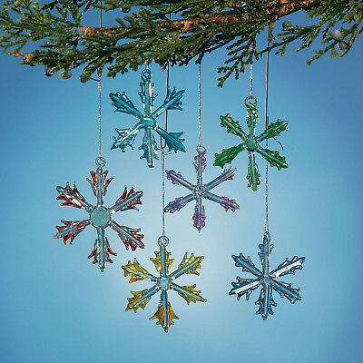 12 Colorful Glass Snowflakes Christmas Ornament Tree Decorations - Glass Ornaments Bulk