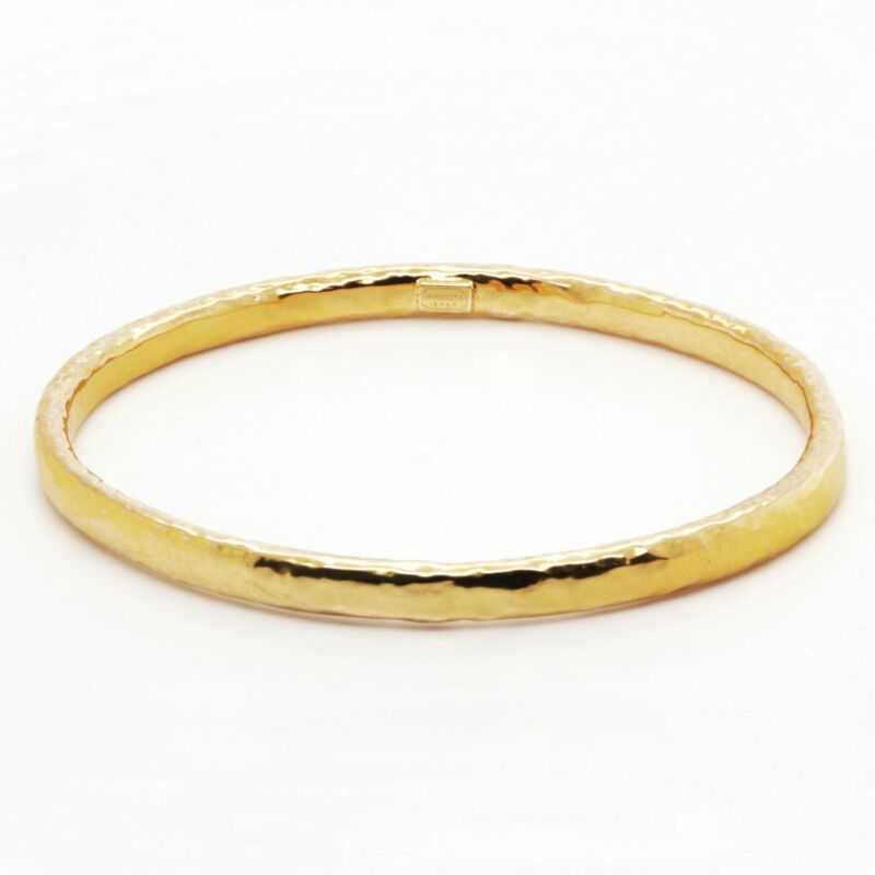 Ipolitta Classico Large Hammered Bangle Bracelet in 18K Yellow Gold