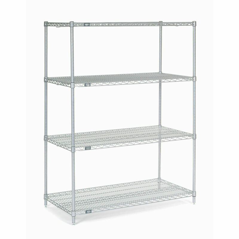 """Stainless Steel Wire Shelving, 48""""W x 24""""D x 74""""H"""