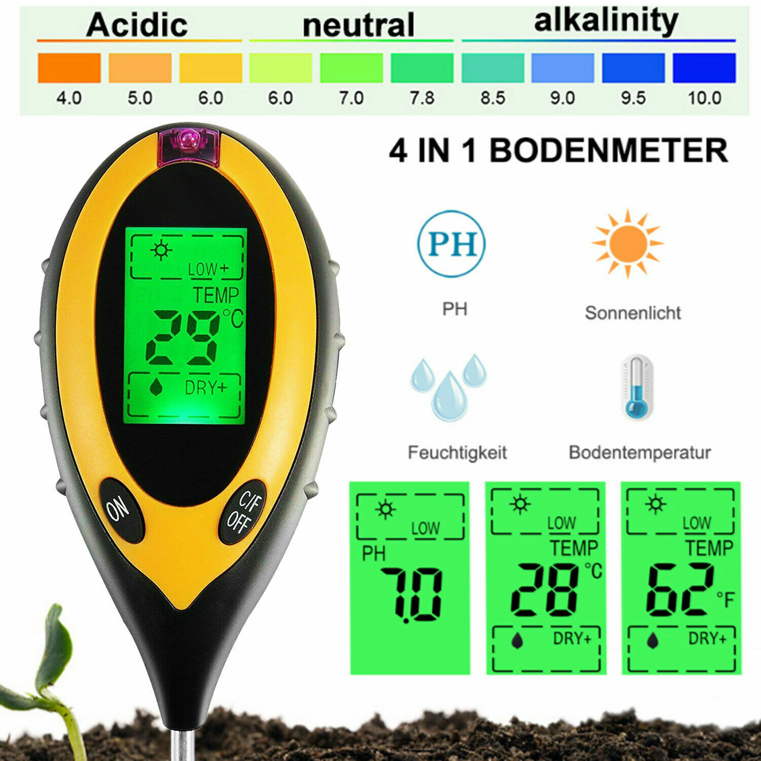 4 in 1 PH Tester Soil Water Moisture Light Test Meter for Garden Plant Seeding Home & Garden
