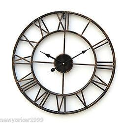 Vintage 20 Antique Large Size Round Iron Metal Analog Wall Clock Home Decor USA