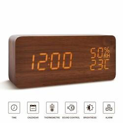 Wooden Alarm Clock LED Digital Desk Clock Time Temperature Voice Control 3 Alarm