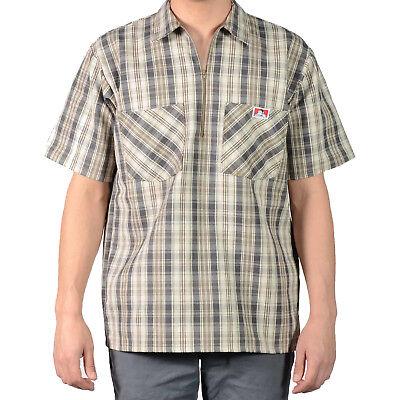 Baumwolle Plaid Khaki (ORIGINAL BEN DAVIS HALF ZIP SLEEVE SHIRT PLAID KHAKI/GREY (Workwear since 1935))