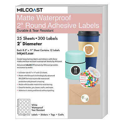 Milcoast Matte Waterproof White 2 Round Circle Labels - 300 Labels 25 Sheets