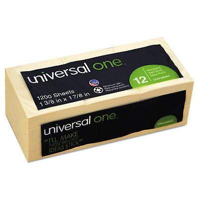 Universal Recycled Sticky Notes 1 12 X 2 Yellow 100-sheet 12pack 28062