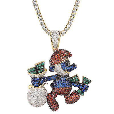 Cartoon Character Papa Pendant Full Iced Out Bling 14k Gold Finish Tennis Chain - Male Cartoon Characters