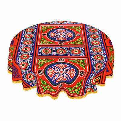 "Ramadan Decorations Red Cotton Linen Round Tablecloth 55"" 140 cm"