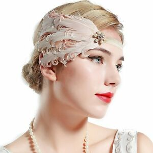 1920s Flapper Peacock Feather Headband Great Gatsby Bridal Crystal Headpiece